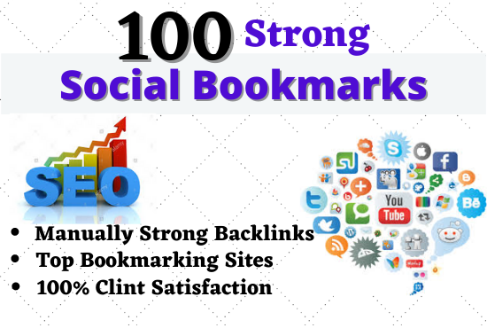 I will build 100 Social Bookmarks Backlinks High Authority Unique Permanent Backlinks