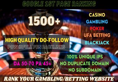I will build 1500+ Permanent PBN UFA/CASINO/GAMBLING/POKER/Betting /Judi BOLA RELATED