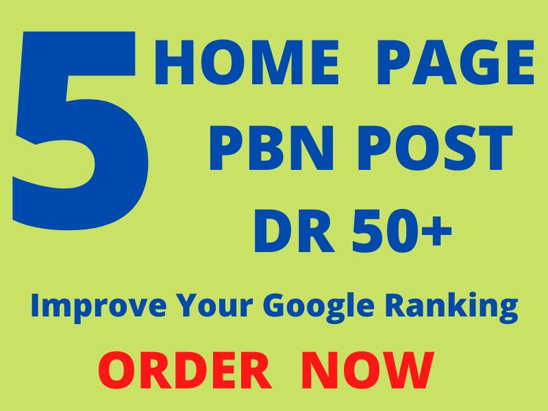 I will create 5 high DR dofollow pbn backlinks