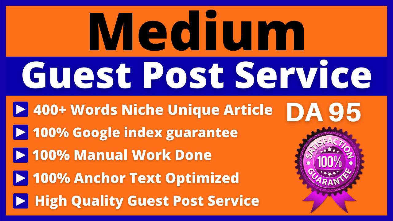 Write and Publish Guest Posts on Medium DA 95,  PA 81 High Quality Backlinks