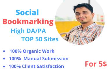 50 social bookmarking on high DA backlinks.