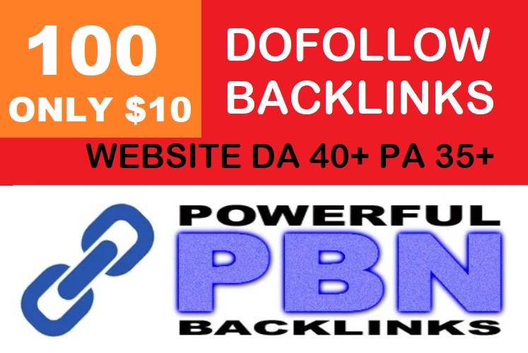 I will do 100 Dofollow Backlinks With DA 40+ PA 35+ Powerful Web 2.0 PBN