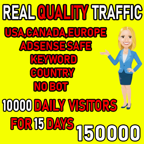 I will send real quality traffic from USA,  CANADA,  EUROPE