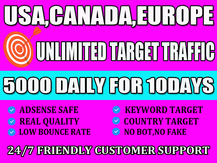 I will drive target web traffic from Usa, Canada and Europe