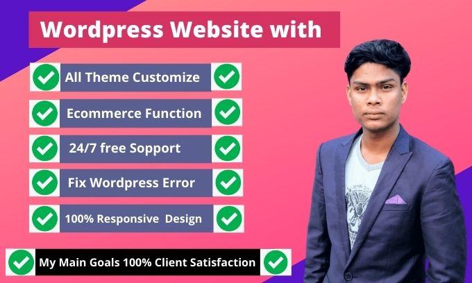 I will build wordpress website responsive design wordpress theme customization