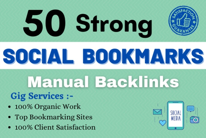 I will do 50 social bookmarking on high da backlinks boost your website now
