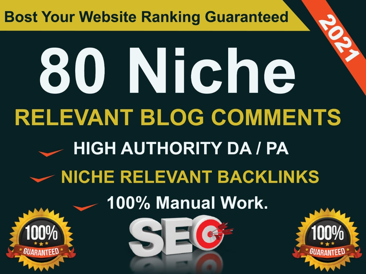 create 80 niche relevant blog comments backlinks help to boost your google ranking