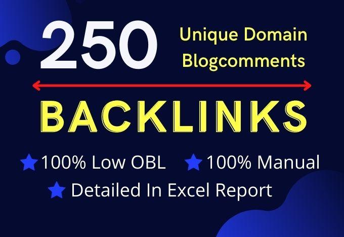 250 Unique Domains Blogcomments Backlinks with LOW OBL