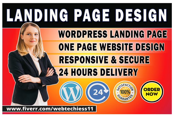 I will do WordPress landing page design or one page website