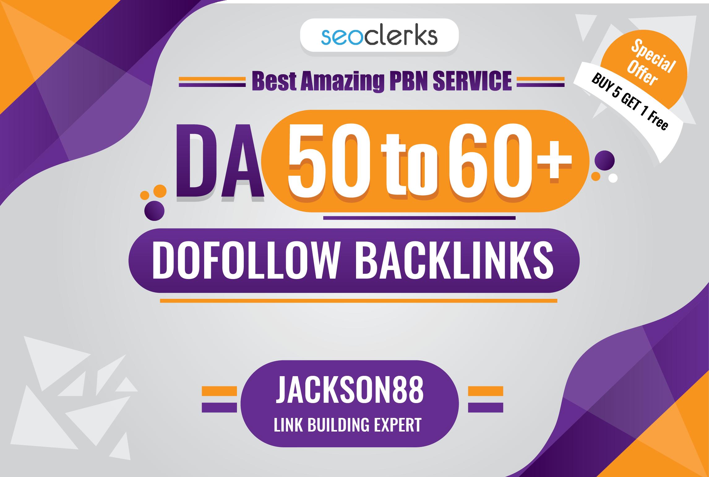 I will Genuine Unique Domain 60High Quality Backlinks With Da 50to60+
