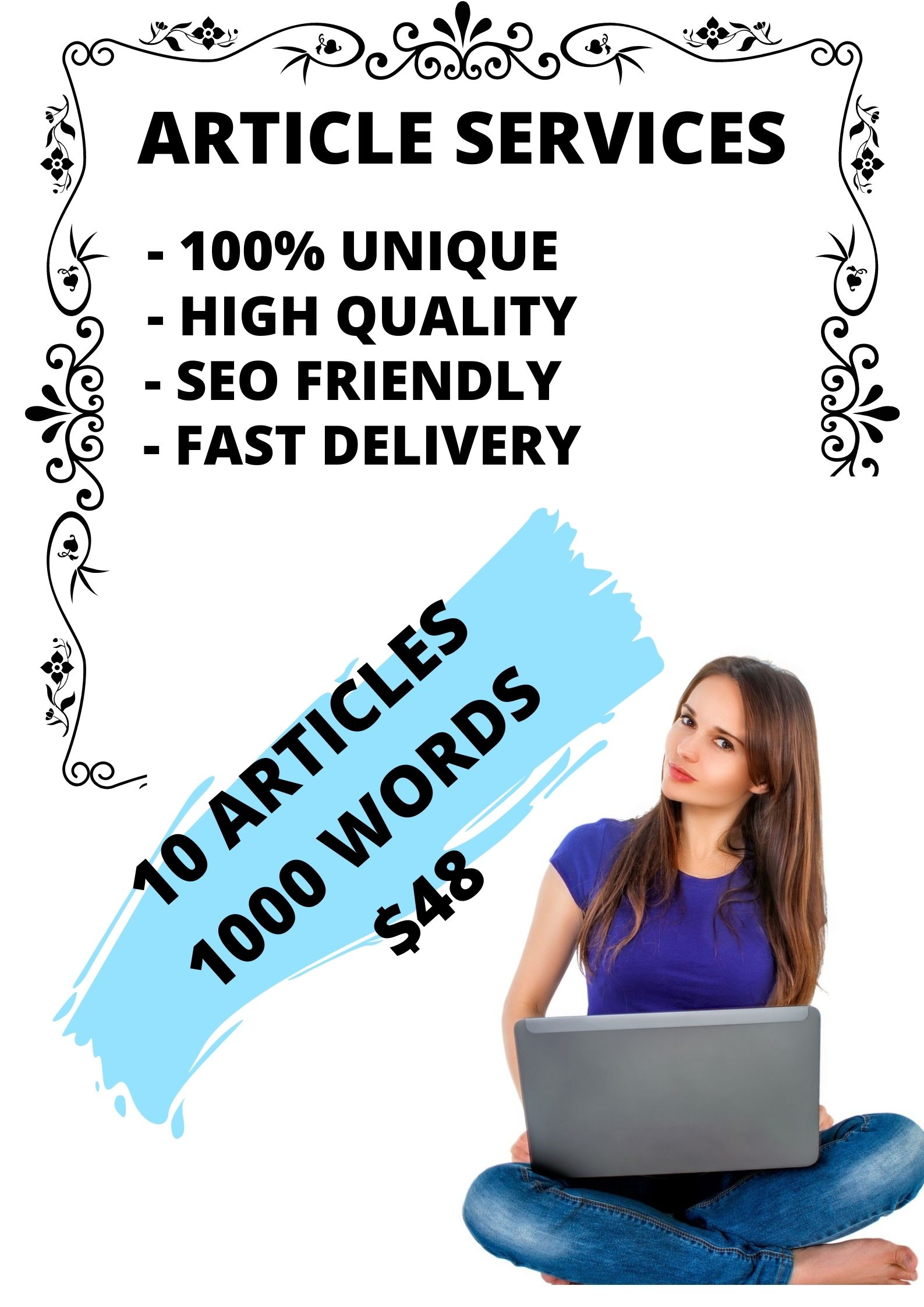 I will write 10 articles with 1000 seo-optimized words / article,  SEO Booster,  100 percent unique