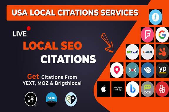 I will do live local SEO citations from yext moz and brightloca