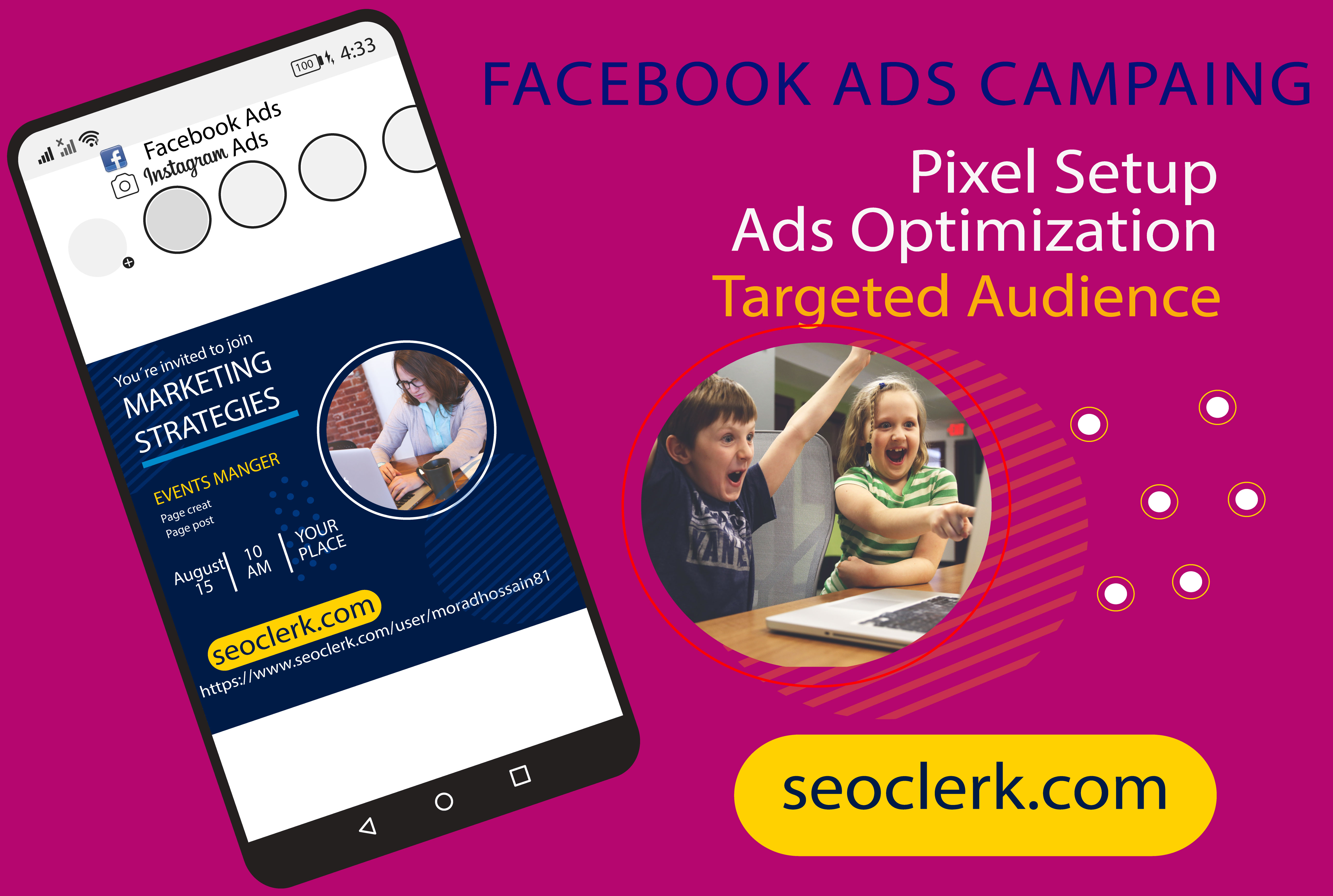 I will set up a Facebook ads campaign in the ads manager