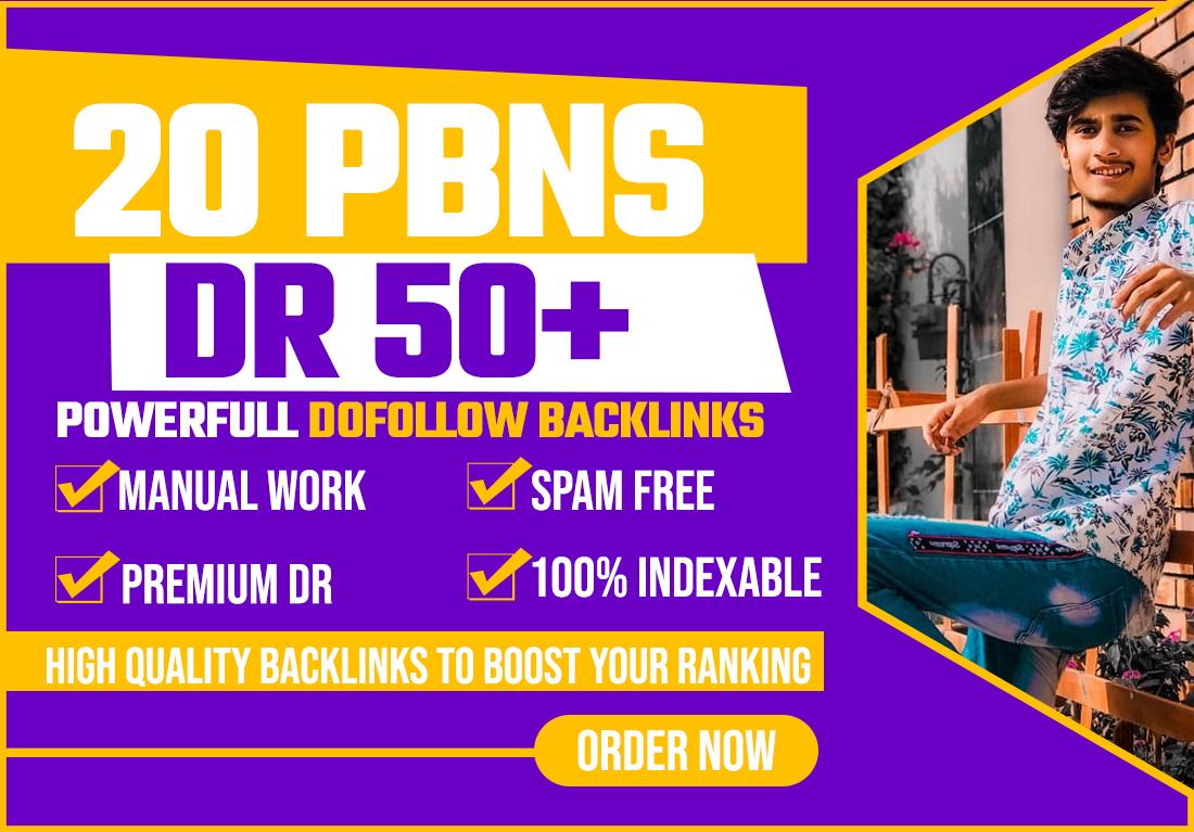 Provide 20 PBNs DR 50+ Powerfull Dofollow Backlinks