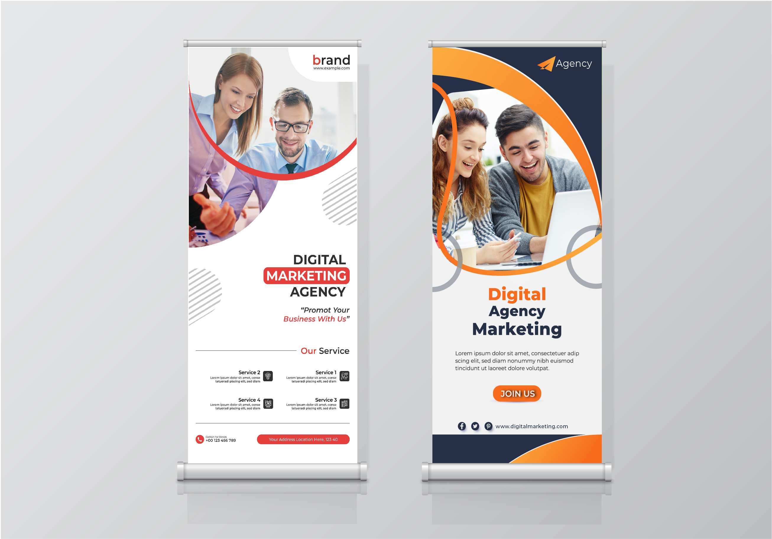 I will creative 10 pro awesome Roll-up banner and social media post design with in 24 hour service