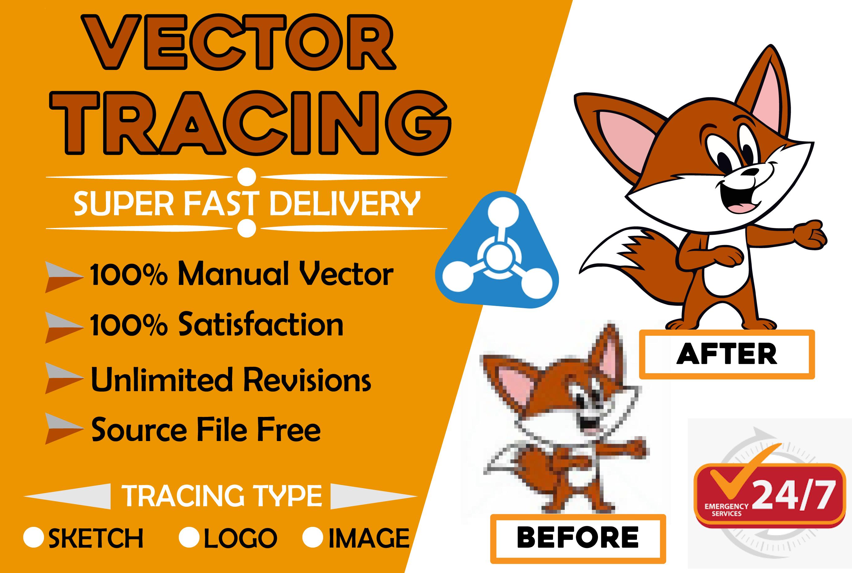 I will do vector tracing,  redraw,  modify,  recreate logo,  vector redesign,  vector asap