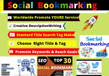 I will create 70 social Bookmarking high DA / PA site permanent post rank your website