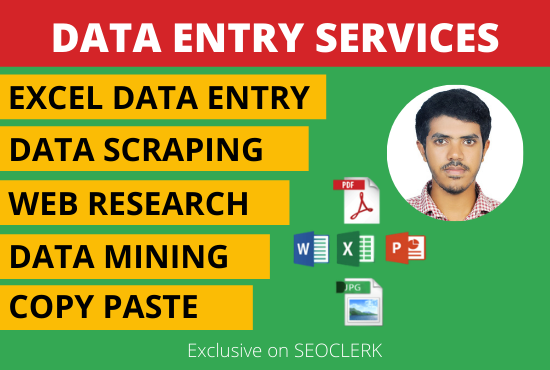 data entry,  data scraping,  copy paste and web research