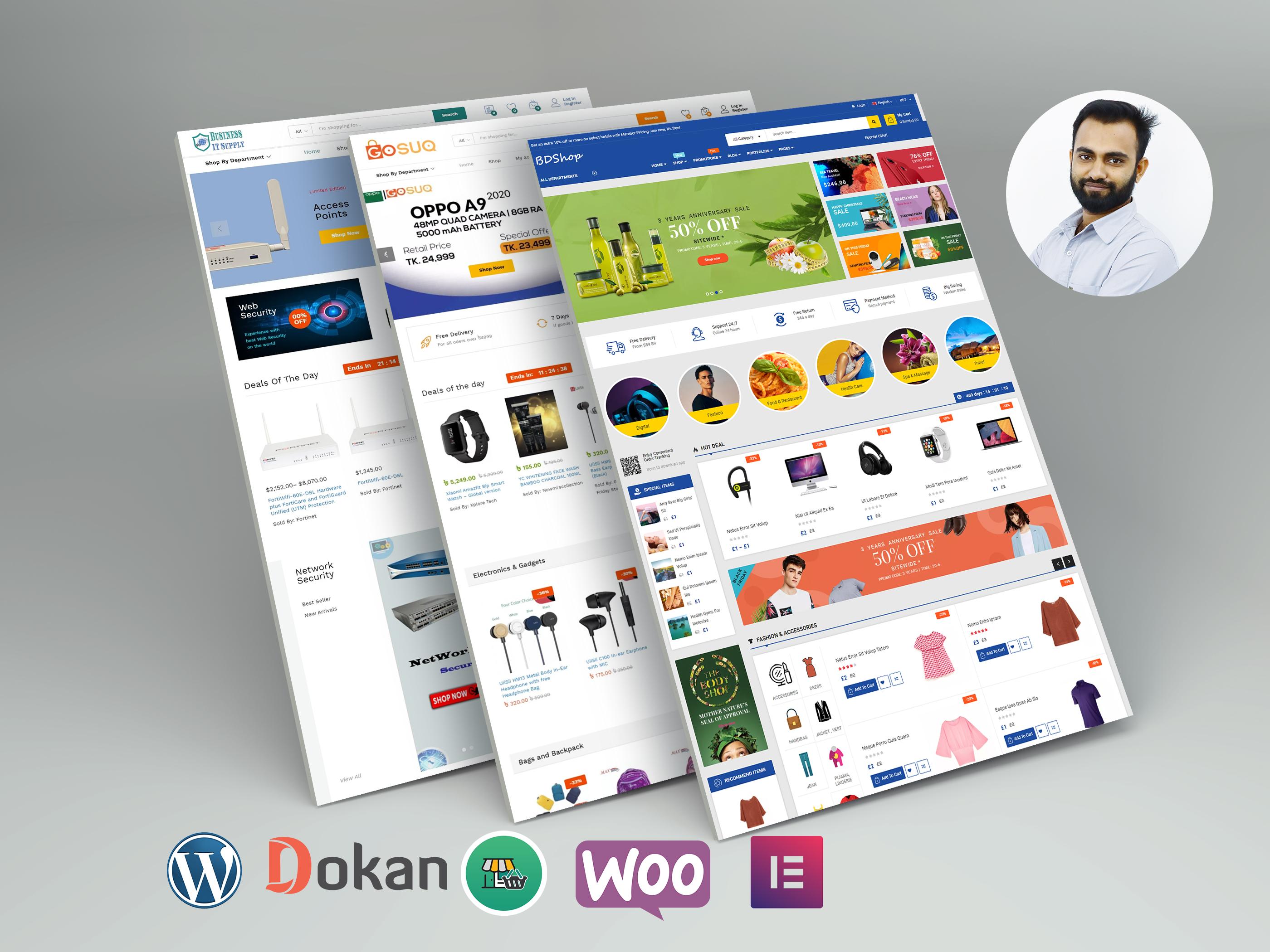 I will create an ecommerce multi vendor website using woocommerce