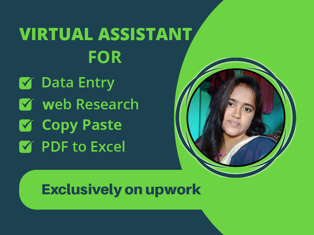 Your virtual assistant for data entry,  web research,  copy paste and PDF to excel