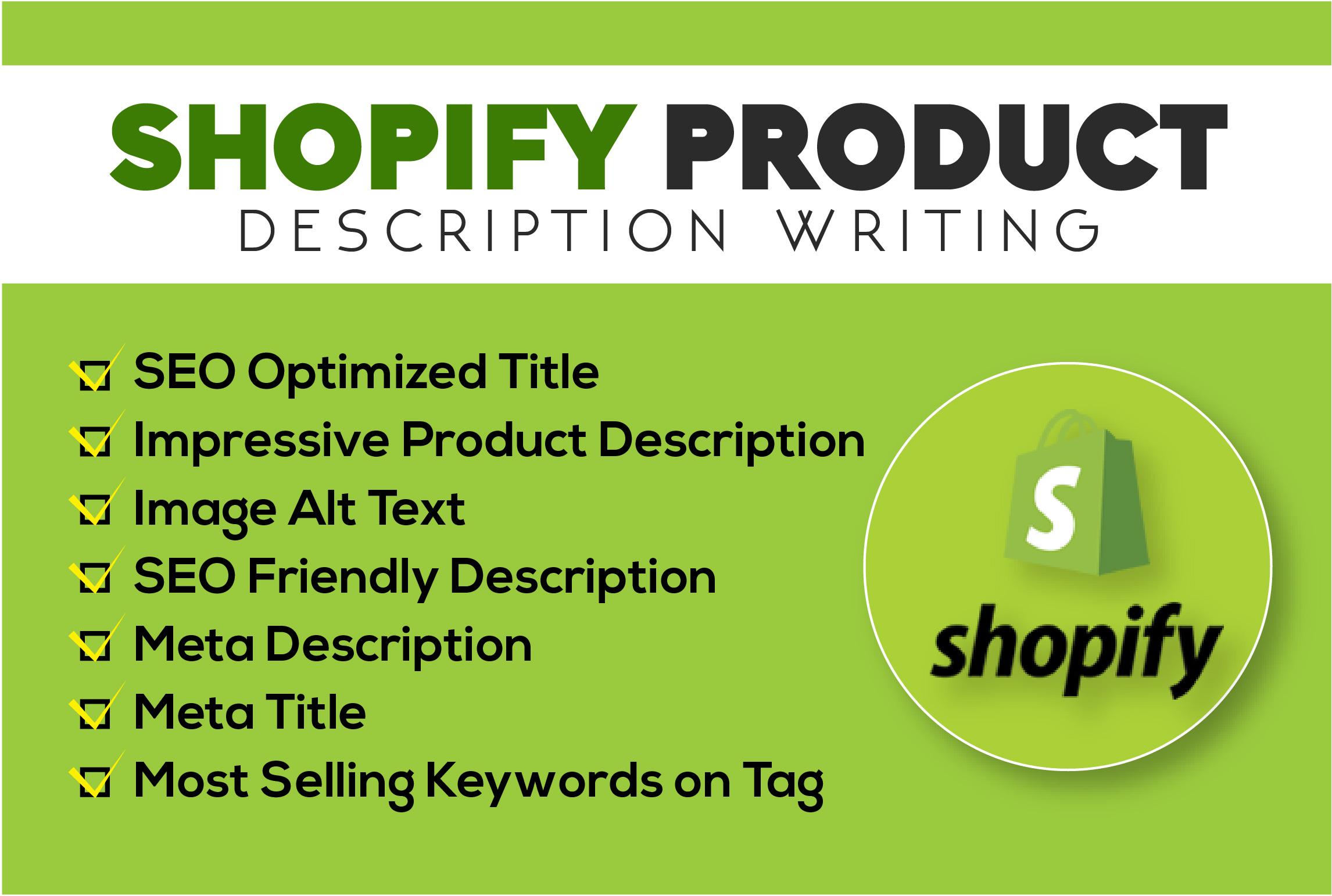 I will write impressive SEO product description for shopify