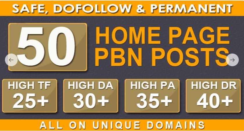 I will do 50 PBN DA 25+ parmanent homepage dofollow backlinks