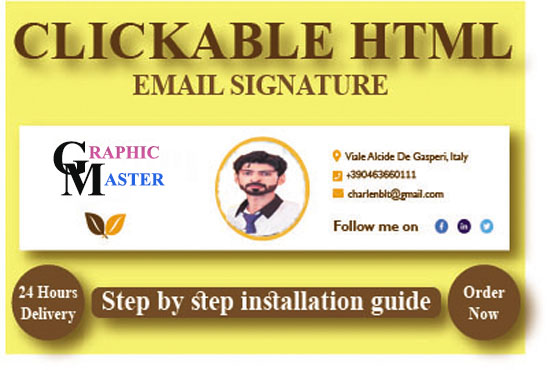 I will create professional HTML clickable email signature for you