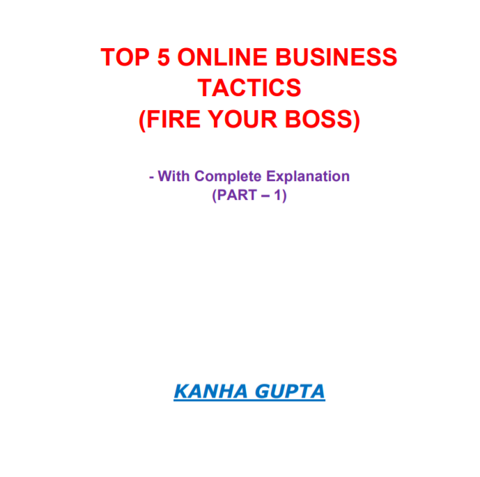 TOP 5 ONLINE BUSINESS TACTICS FIRE YOUR BOSS