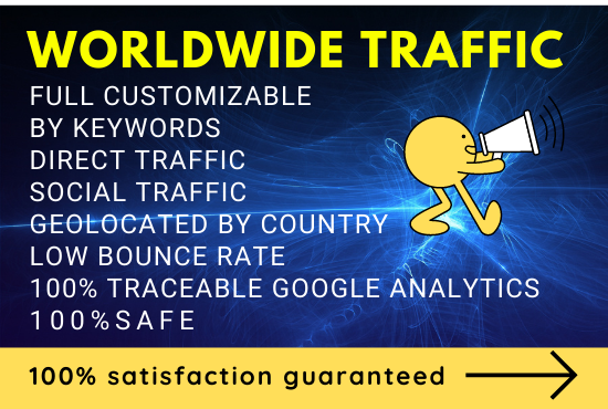 WORLDWIDE Web Traffic google analytics traceable by keywords geolocated low bounce rate