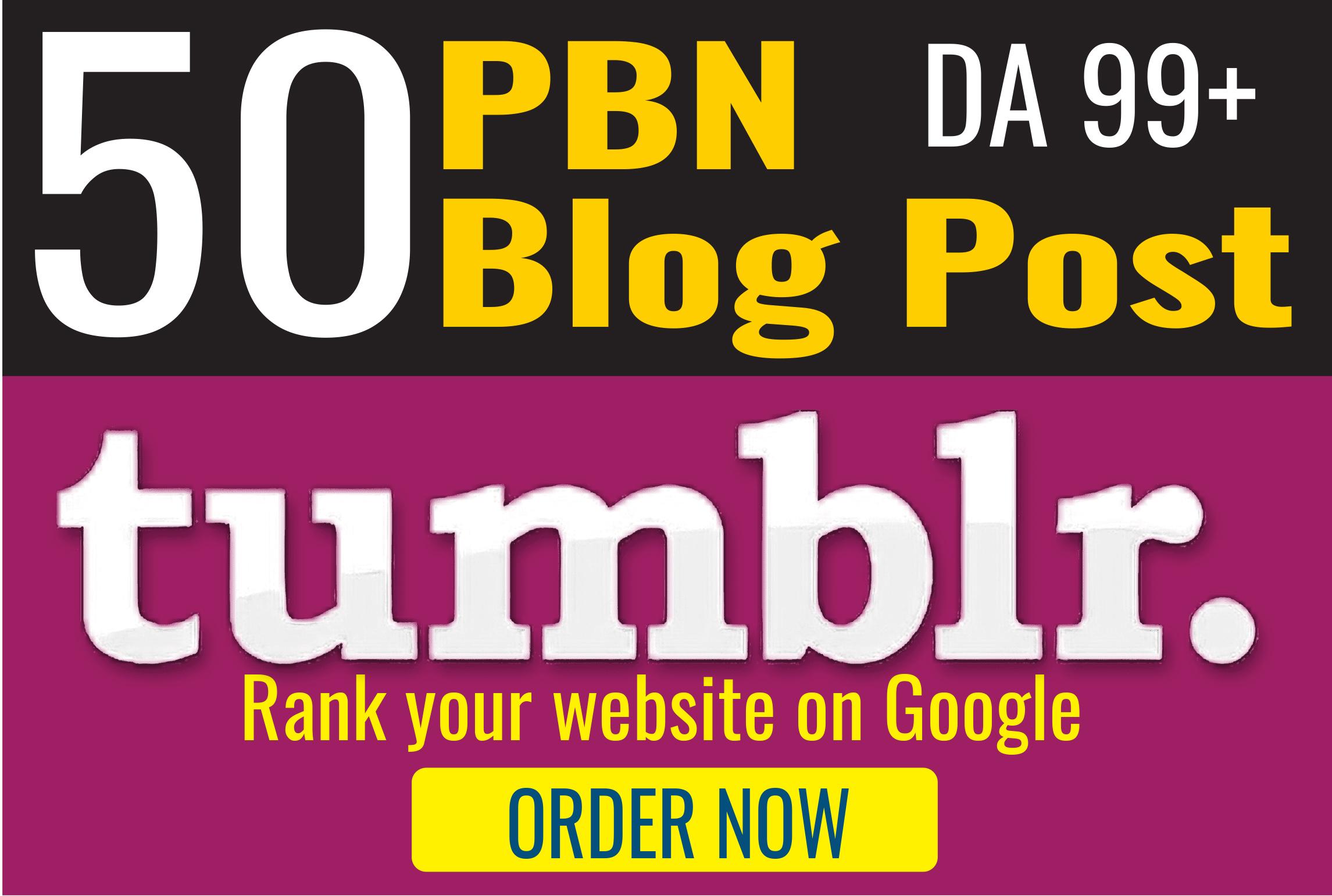 50 PBN High DA98+ PA 28+ Tumblr Backlinks linkbuilding Top Ranking