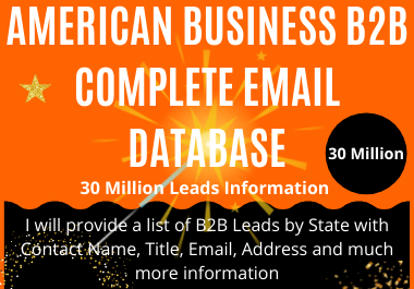 AMERICAN BUSINESS B2B COMPLETE EMAIL DATABASE FRO MARKATING
