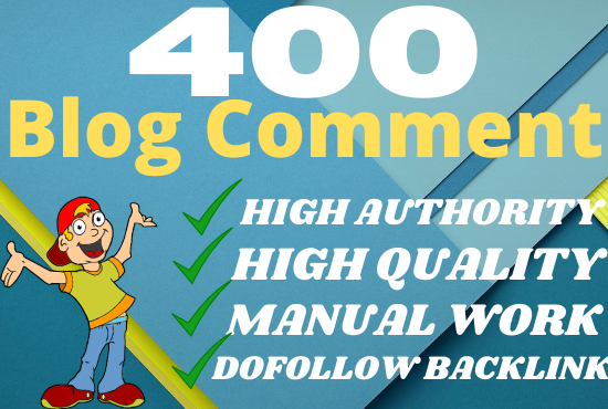 i will create manual 400 blog comment backlinks SEO high quality