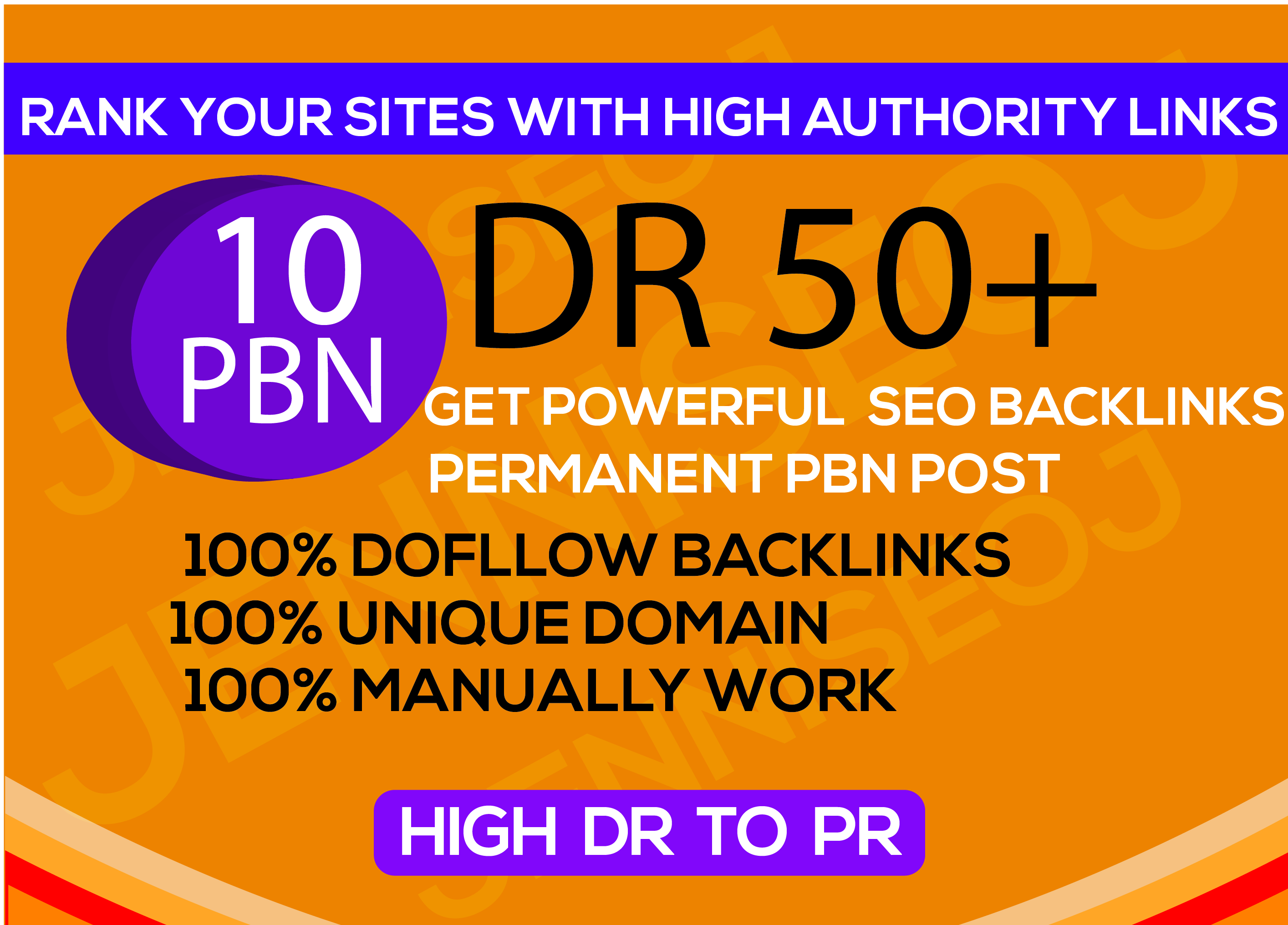 Create Unique Domain 10PBN DR50+ Homepage backlinks Dofollow high websaits DR