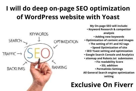 I will do deep on-page SEO optimization of WordPress website with Yoast
