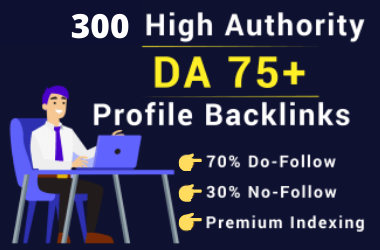 I will create 300 SEO profile backlinks on high authority websites