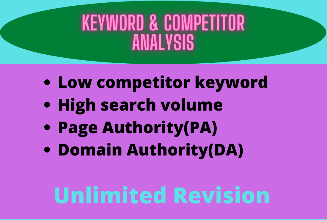 I will do analysis low competitor keyword
