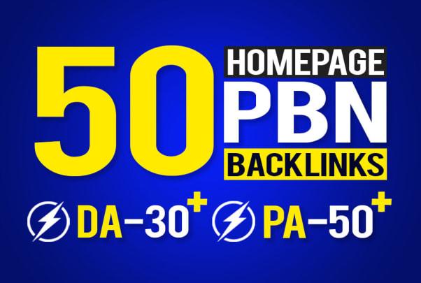 I will provide 50 homepage seo pbn backlinks da 30 plus pa 50 plus