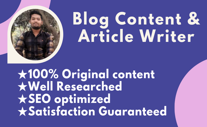 I will be your website content writer,  article and blog writer