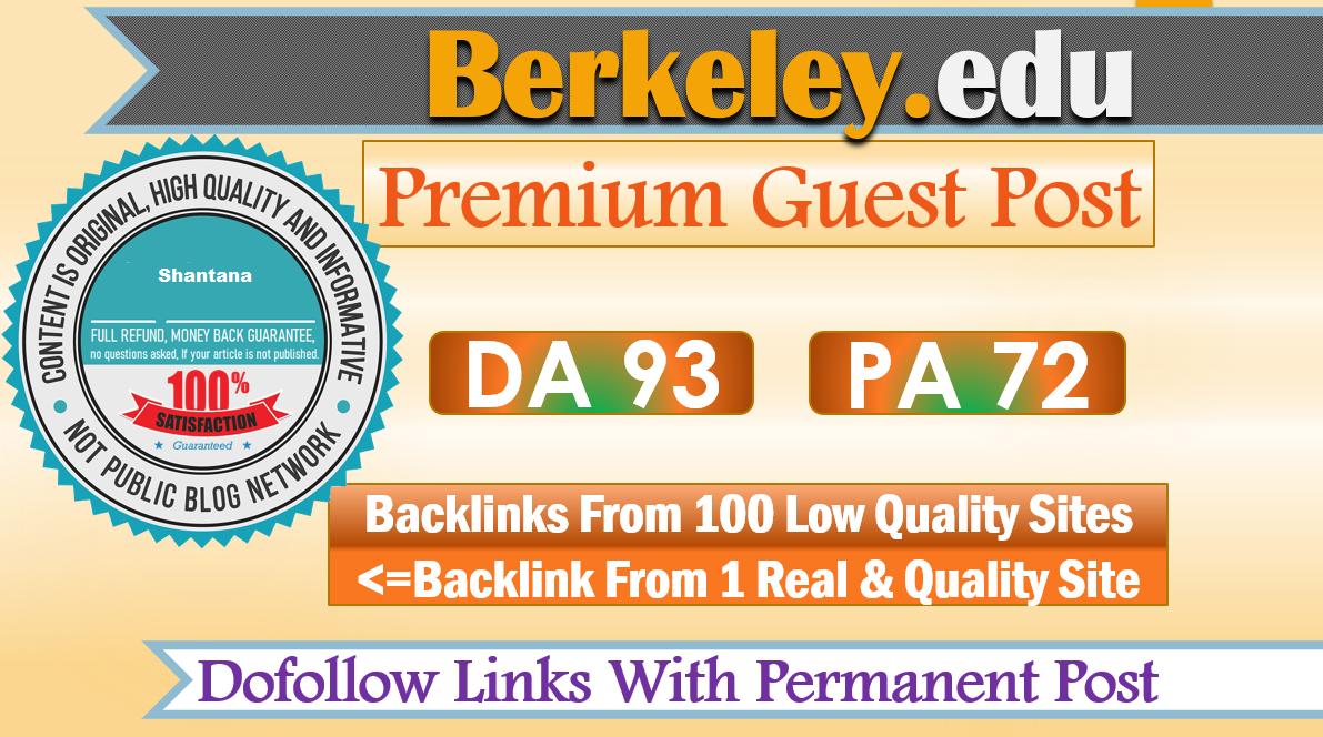 Write & publish dofollow guest post on Berkeley. edu,  DA92