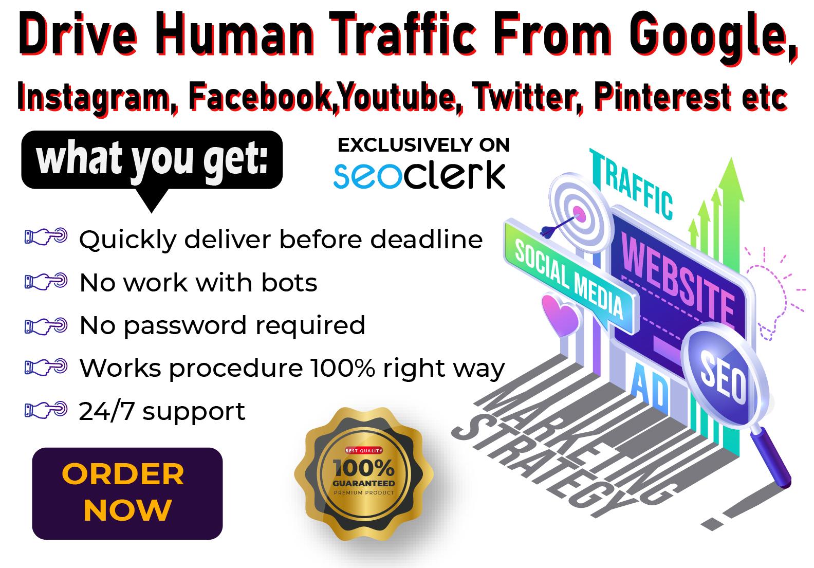 Drive Unlimited Real Traffic YouTube Instagram Twitter Pinterest etc