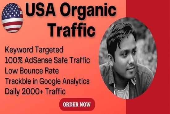 I will bring google adsense safe USA organic targeted web traffic