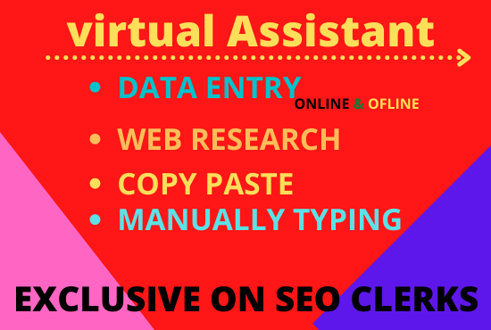 I will be your virtual assistant for data entry and copy paste in 24 hours