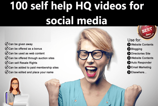 I will give 100 self help HQ videos for social media