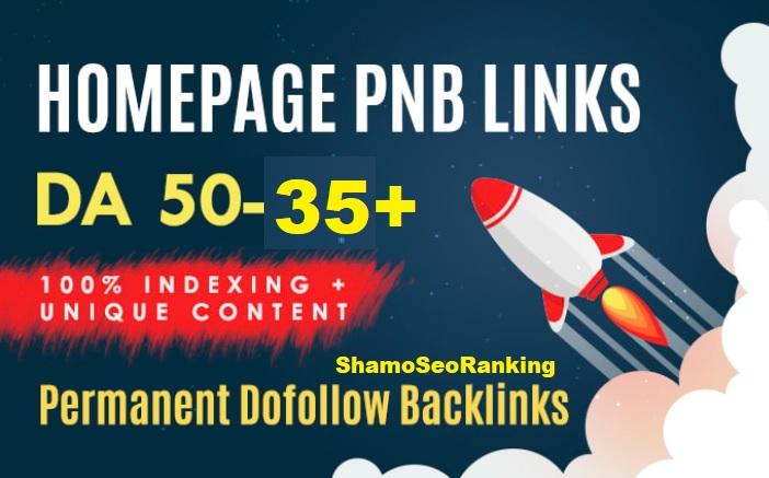 Create 20 DA 50 to 35+ Dofollow Homepage Permanent PBN Backlinks