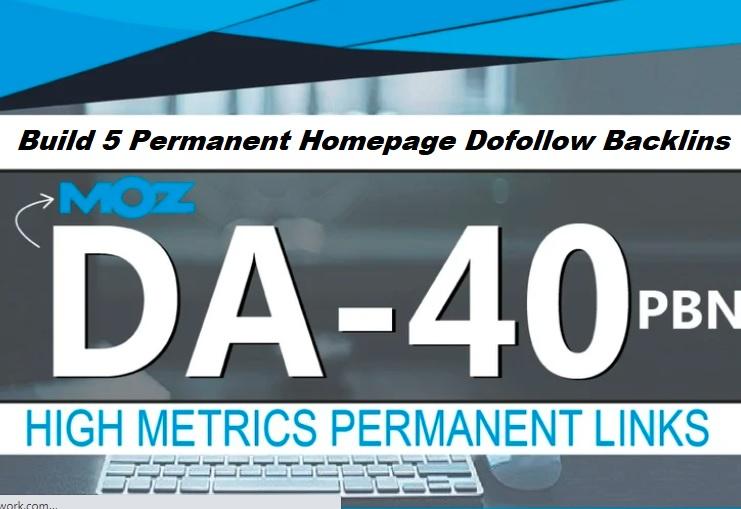 Create 5 High DA 40+ Homepage PBN Backlinks To Skyrocket you SERP