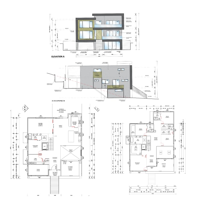 I will draw architecture drawing plans elevation section drawing