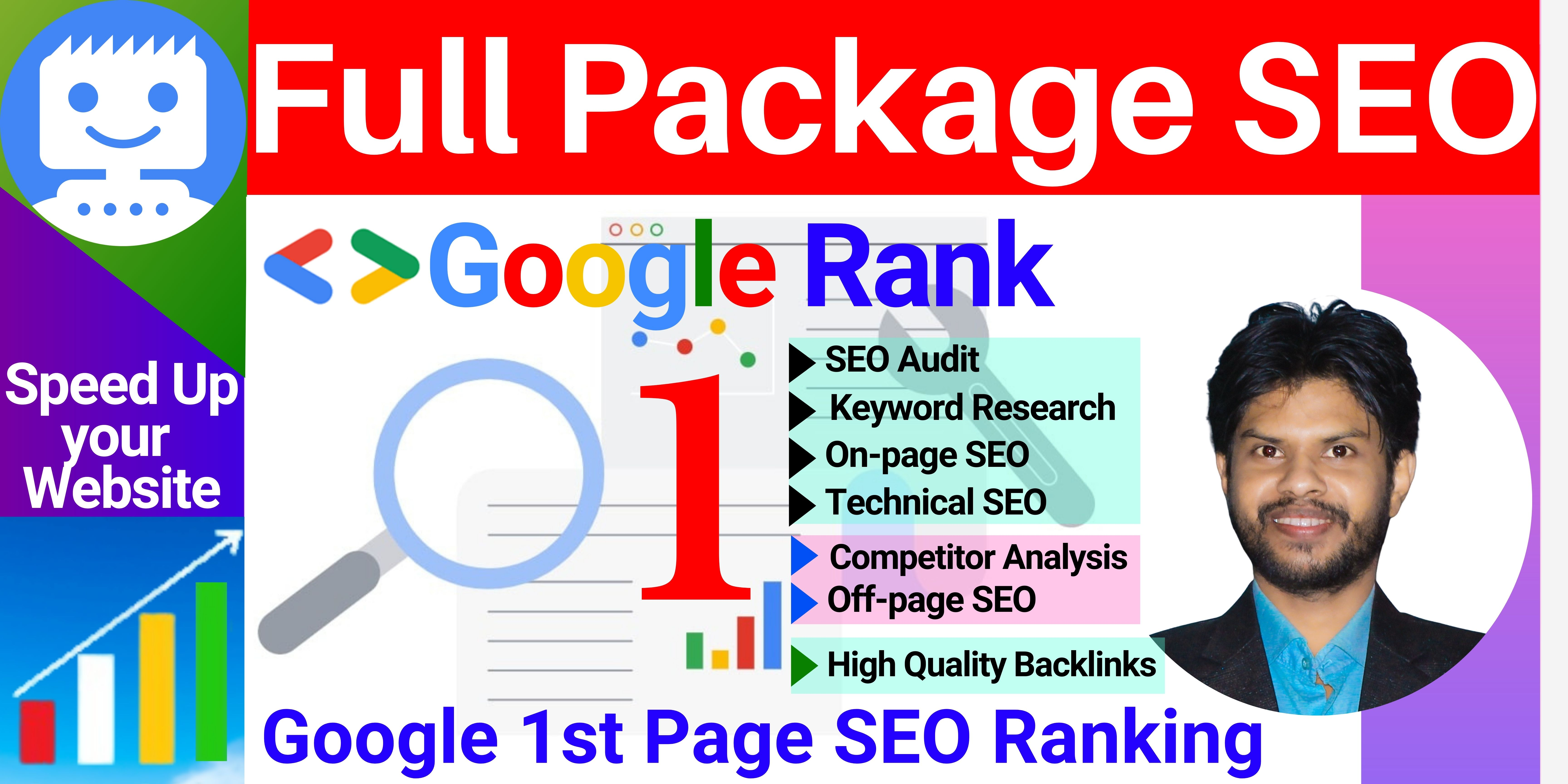 You will get a Full Package SEO service SEO Audit,  On-page SEO,  Off-page SEO