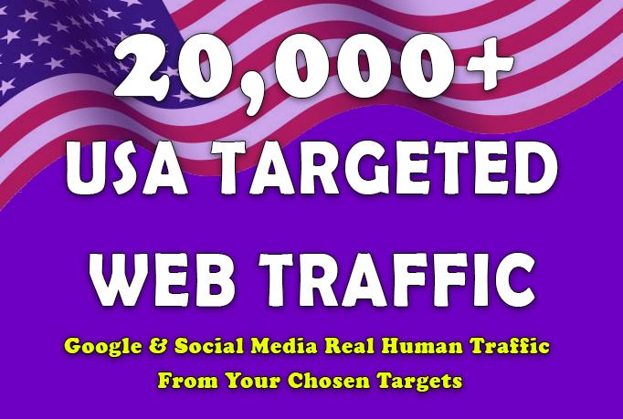Drive 20,000 USA Targeted Real Human Web Traffic from Google & Social Media