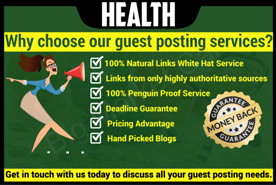 Place a health guest post on high da websites with dofollow links