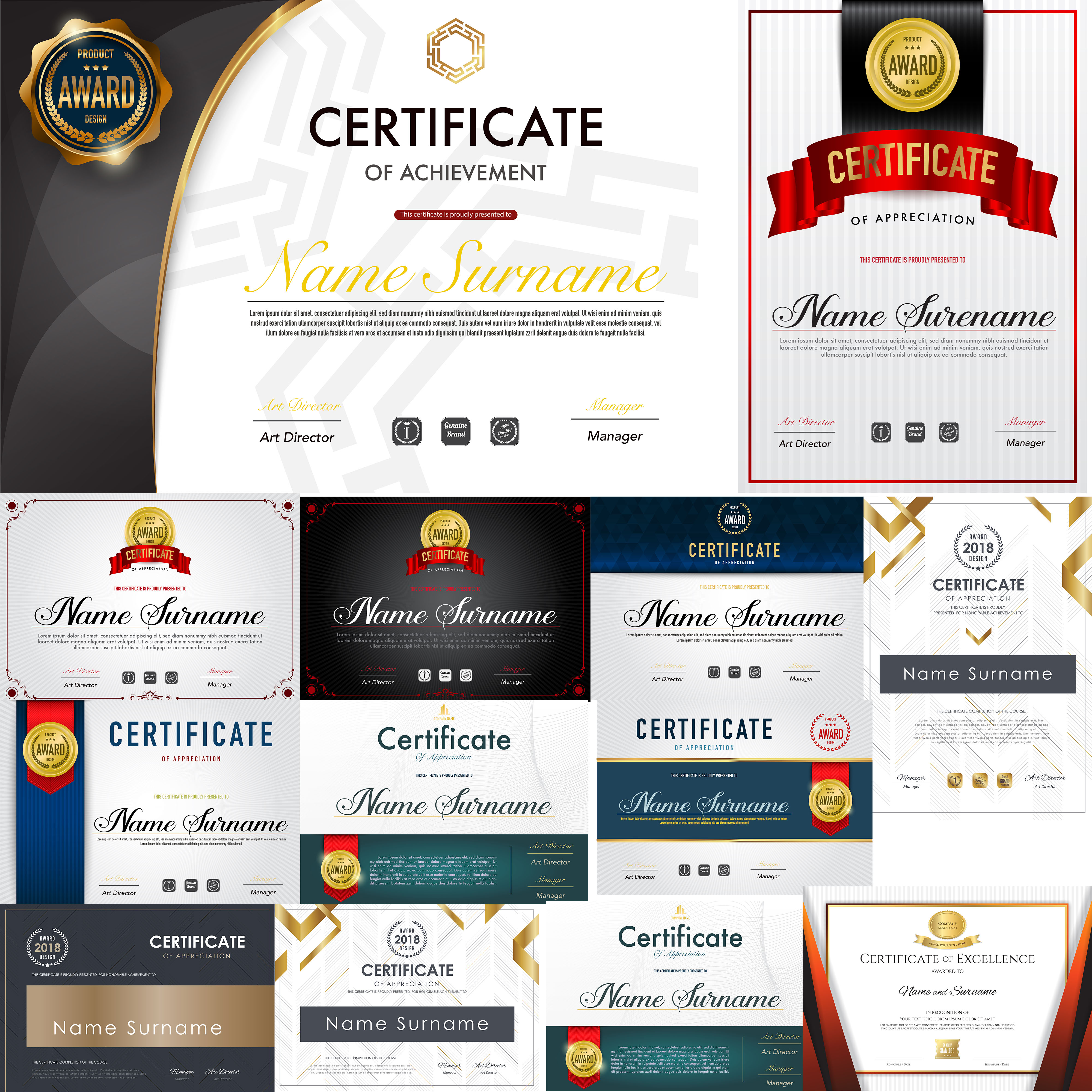 I Can Give You Certificates and diplomas with various designs in vector